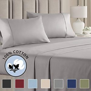 100% Cotton King Sheets Light Grey (4pc) Silky Smooth, Cooling 400 Thread Count Long Staple Combed Cotton King Sheet Set – 400TC High Thread Count King Sheets - King Bed Sheets All Cotton 100% Cotton