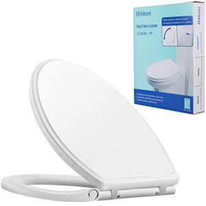 Hibbent Premium One Click Elongated Toilet Seat with Cover(Oval)- Easy Installation and Quick-Release for Easy Cleaning - Stable Hinge Design to prevent shifting - Soft Closed - White Color(Elongated)