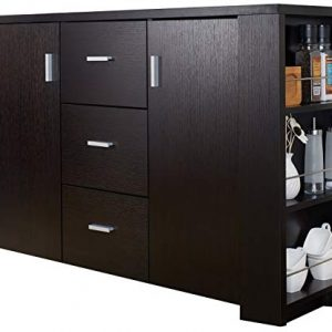 ioHOMES Quincy Modern 3-Drawer on Metal Glides Dining Buffet with 2-Door Cabinet and 2 Side Wine-Glass Holders, Cappuccino