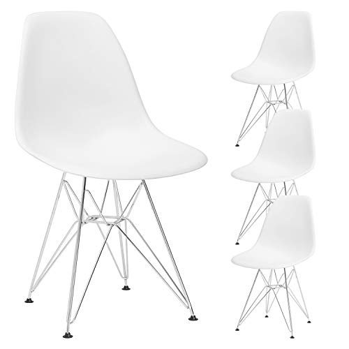 YJCfurniture Dining Chairs Set of 4 Mid Century Modern Kitchen Shell Chairs with Metal Legs for Dining, Bedroom, Living Room Side Chairs Set of 4,White