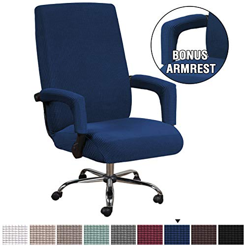 H.VERSAILTEX Computer Office High Back Large Chair Covers Stretchable Jacquard Polyester Washable Rotating Chair Slipcovers with Armrest Covers, Machine Washable/Non Skid Slipcover(Large,Navy)