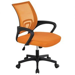 Topeakmart Mid Back Swivel Ergonomic Orange Mesh Office Chair, Lumbar Support Task Chairs for Workplace