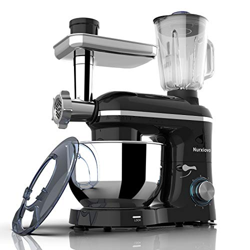 Nurxiovo Stand Mixer 850W 6 Speed Tilt-Head Kitchen Mixer with 7QT Mixer with Stainless Steel Bowl, Dough Hook Whisk Beater,Multifunction 3 in 1 Standing Mixers, Meat Blender and Juice Extracter Black