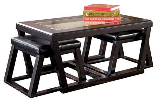 Signature Design by Ashley - Kelton Coffee Table with 2 Stools, 3 Piece Set, Espresso Brown with Glass Top