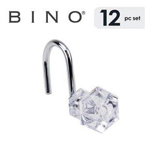 BINO Shower Curtain Hooks - Chrome, Set of 12 Shower Curtain Rings - Shower Hooks for Curtain Shower Rings