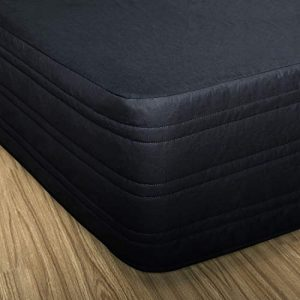 "MARQUESS Polyester Blended Quilted Bed Skirt, Sagging Sense Enhanced,Anti-Wrinkle, Fade Resistant Dust Ruffle with Classic 14"" Length Drop, for Bedroom (Black, Queen)"