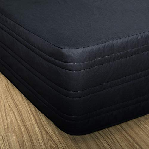 """MARQUESS Polyester Blended Quilted Bed Skirt, Sagging Sense Enhanced,Anti-Wrinkle, Fade Resistant Dust Ruffle with Classic 14"""" Length Drop, for Bedroom (Black, Queen)"""