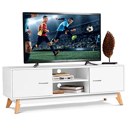 Tangkula Modern White TV Stand, Wooden TV Stand for 60 Inch TV, with 2 Storage Cabinets & 2 Open Shelves, for Home Living Room Furniture, Wood TV Stand
