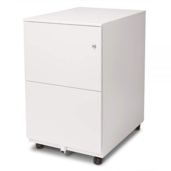 Aurora Modern Soho Design 2-Drawer Metal Mobile File Cabinet with Lock Key/Fully Assembled, White