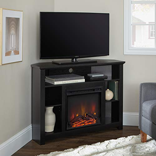 "WE Furniture 44"" Wood Corner Fireplace TV Stand - Black"