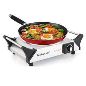 Techwood Hot Plate Single Burner Electric Ceramic Infrared Portable Burner, 1200W with Adjustable Temperature, Stay CoolHandles, Non-Slip Rubber Feet, Stainless Steel Easy To Clean, Upgraded Version