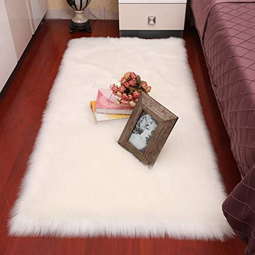 Rectangle Ultra Soft Fluffy Bedroom Rugs Luxury White Faux Fur Sheepskin Area Rug, Plush Shaggy Furry Rugs for Living Room Bedside Indoor Home Floor Carpet Girls Pricess Room Decor, 3 x 5 Feet