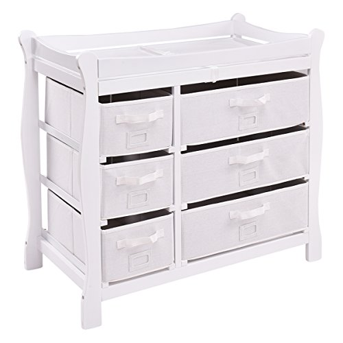 Costzon Baby Changing Table, Newborn Nursery Station w/Pad & Hamper, Sleigh Style Nursery Dresser Changing Table, Infant Diaper Changing Table Organization(White/ 6 Baskets)