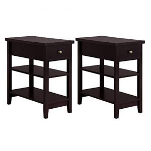 YAHEETECH 3 Tier Sofa Side End Table with Double Shelves 1 Drawer - Nightstand Coffee Table for Living Room, Set of 2, Espresso