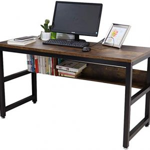"Lazyin 55"" Computer Desk with Bookshelf/Metal Desk Office Desk Sturdy Desk with Industrial Writing Study Table Workstation Home Office"