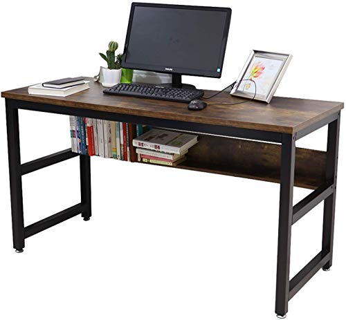 """Lazyin 55"""" Computer Desk with Bookshelf/Metal Desk Office Desk Sturdy Desk with Industrial Writing Study Table Workstation Home Office"""