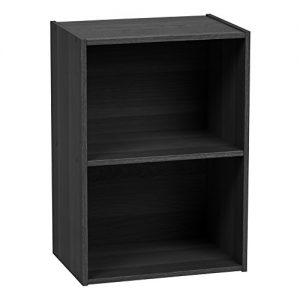 IRIS USA 2-Tier Wood Storage Shelf, Black