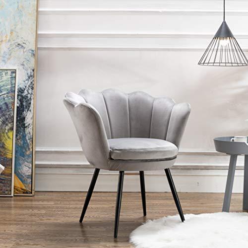Mordern Velvet Bedroom Chair,Comfy Upholstered Flower Accent Chair Single Sofa for Living Room/Bedroom(Grey)