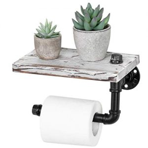 MyGift Wall-Mounted Pipe Design Toilet Paper Holder with Whitewashed Wood Shelf