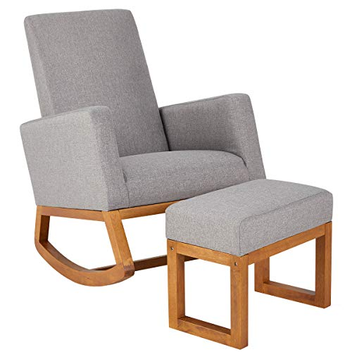 YOLENY Rocking Chair,Mid Century Accent Chair,Glider Rocker with Ottoman,Seat Wood Base,High Back Linen Armchair,Gray