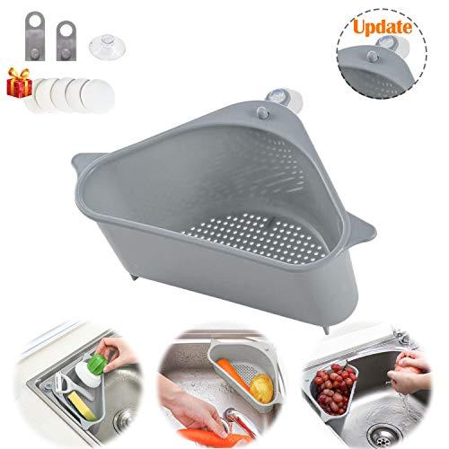 Sink Strainers Basket, Corner Kitchen Sink Strainer Punch-Free Multifunctional Sink Basket for Kitchen, Bathroom, Soap Box Organizer (Gray )