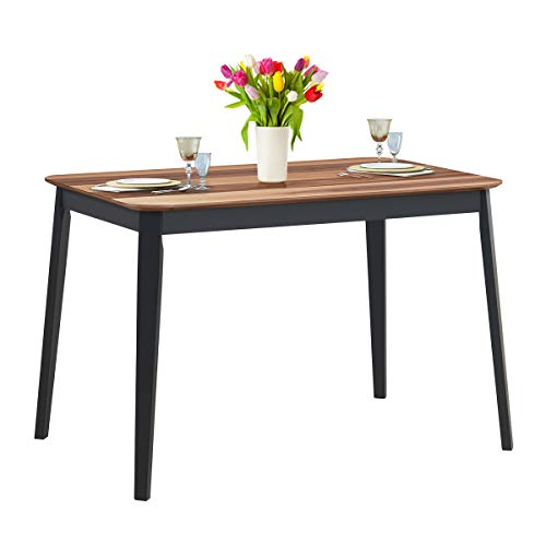 Giantex Wood Dining Table, Rectangular Kitchen Table, Modern Home Furniture for Dining Room (Walnut & Black)