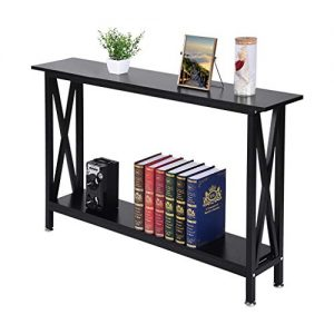 Barcley Industrial Style 2-Tier Entryway Console Table X-Design Bookcase Bookshelf Console Sofa Table with Storage Shelf for Living Room Hall Bedroom, Brown Finish - Ship from US (Black)