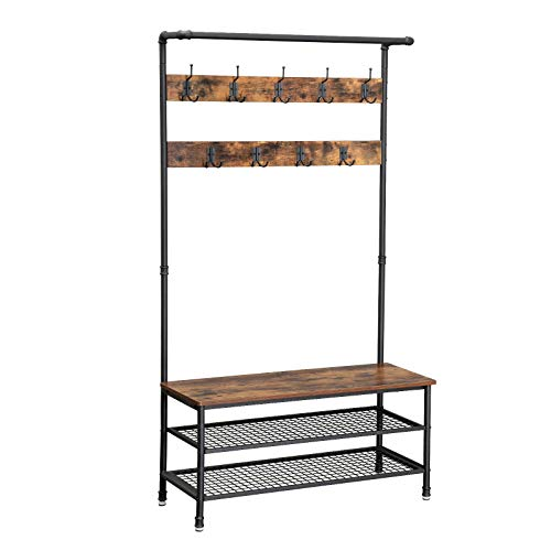 VASAGLE Industrial Coat Rack Storage Bench, Pipe Style Hall Tree with 9 Hooks, Multifunctional Sturdy Iron Frame Large Size