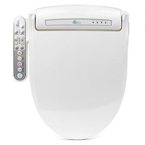 BioBidet Prestige BB-800 Elongated White Bidet Toilet Seat, Adjustable Warm Water, Self Cleaning, Side Panel, Posterior Feminine and Vortex Wash, Electric Bidet, 3 in 1 Nozzle, Power Save Mode
