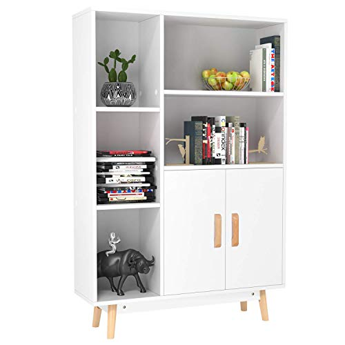 Homfa Floor Storage Cabinet, Free Standing Wooden Display Bookcase with Double Doors, 2 Shelves, 3 Cubes and 4 Legs, Side Cabinet Decor Furniture for Home Office, White