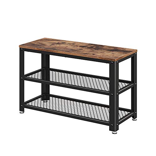 VASAGLE Industrial Shoe Bench, 3-Tier Shoe Rack, Storage Organizer with Seat, Wood Look Accent Furniture with Metal Frame, for Entryway, Living Room, Hallway ULBS73X