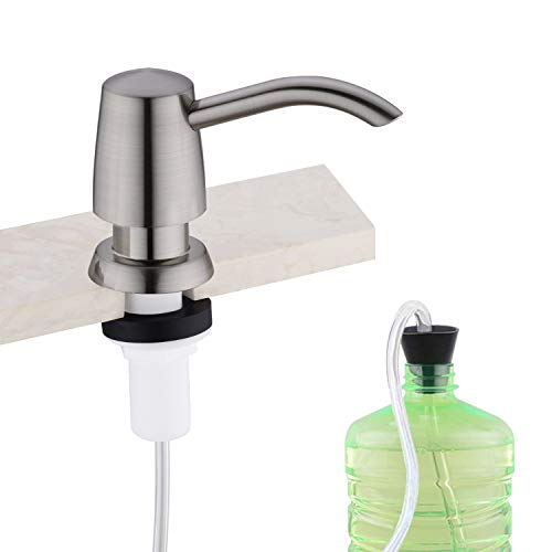 Avola Soap Dispenser,Hand soap Dispenser,Dish Soap Dispenser for Kitchen with Tube Kit,Tube Connects Directly to Soap Bottle,No More Refills,Brushed Nickel