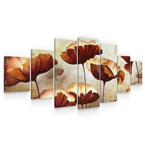 Startonight Large Canvas Wall Art Flowers - Stylized Copper Colored Poppies - Huge Framed Modern Set of 7 Panels 40 x 95 Inches