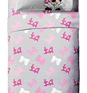 Jay Franco Disney Minnie Mouse Faces Twin Sheet Set - 3 Piece Set Super Soft and Cozy Kid's Bedding - Fade Resistant Microfiber Sheets (Official Disney Product)