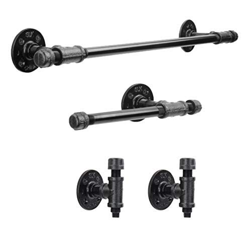 Rustic Pipe Decor 4 Piece Bathware Fixture Set, Wall Mount Kit Includes 18 Inch Towel Bar Rack, Two Robe Hooks and Toilet Paper Holder, Industrial Vintage Farmhouse DIY Bathroom Hardware, Black Pipes