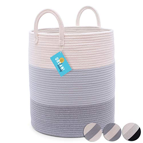 """OrganiHaus Cotton Rope Basket in Grey 