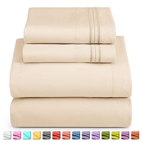Nestl Luxury Queen Sheet Set - 4 Piece Extra Soft 1800 Microfiber-Deep Pocket Bed Sheets with Fitted Sheet, Flat Sheet, 2 Pillow Cases-Breathable, Hotel Grade Comfort and Softness - Beige Cream