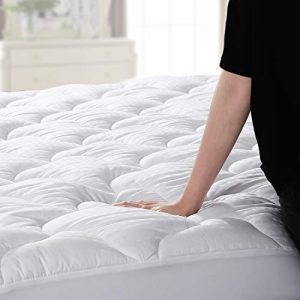 """Abakan Mattress Pad Queen Size Cooling Mattress Cover 100% Cotton Quilted Mattress Topper White Bed Topper Down Alternative Filling (8-21"""" Fitted Deep Pocket)"""