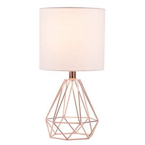 CO-Z Modern Table Lamp with White Fabric Shade, Rose Gold Desk Lamp with Hollowed Out Base 18 Inches in Height for Living Room Bedroom Dining Room
