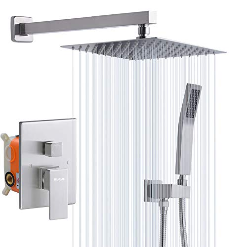 Rugus Shower System,Luxury Rain Mixer Shower Combo Set Wall Mounted Rainfall Shower Head System,10 Inch Square Rain Shower Head,Brushed Nickel(Contain Shower faucet rough-in valve body and trim)