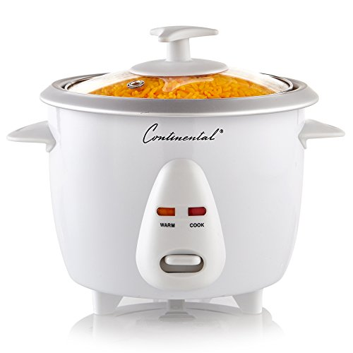 Continental Electric CE23201 6 Cooker, (3-Cups uncooked Rice), (Cooked), White