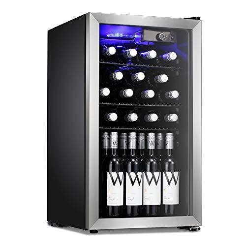 Antarctic Star 26 Bottle Wine Cooler/Cabinet Beverage Refigerator Mini Fridge Small Wine Cellar Soda Beer Counter Top Bar Quiet Operation Compressor Freestanding Clear Glass Door for Office/Dorm