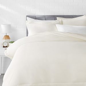 AmazonBasics Light-Weight Microfiber Duvet Cover Set with Snap Buttons - King, Cream