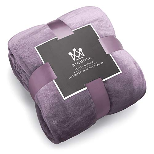 Kingole Flannel Fleece Microfiber Throw Blanket, Luxury Lavender Purple Queen Size Lightweight Cozy Couch Bed Super Soft and Warm Plush Solid Color 350GSM (90 x 90 inches)