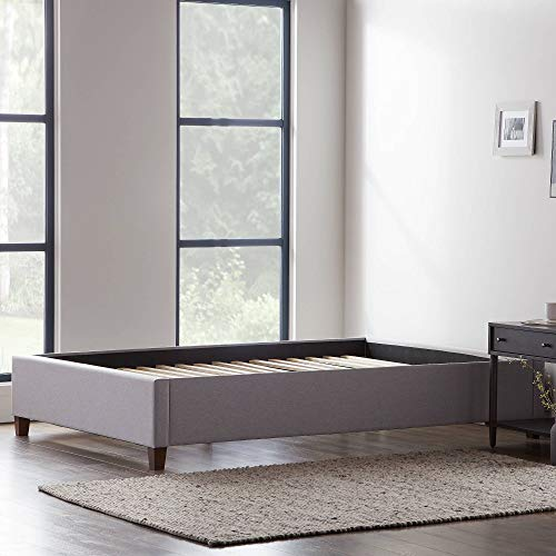 LUCID Upholstered Bed with Slats – Linen Inspired Fabric – No Box Spring Required – Compatible with Adjustable Bases Platform, Queen, Stone