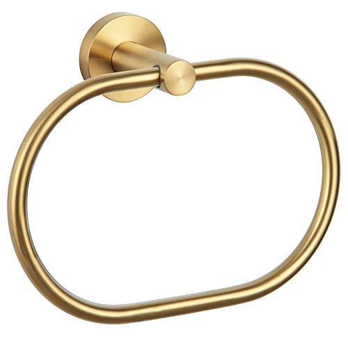 APLusee Bath Towel Ring Brushed Gold, 304 Stainless Steel Swivel Hand Towel Holder Dry Rack Near The Sink, Modern Bathroom Accessories