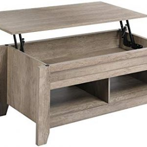 Yaheetech Lift Top Coffee Table with Hidden Storage Compartment & Lower Shelf, Lift Tabletop Dining Table for Living Room Office Reception, 19.2-24.2in H,Craftsman Oak