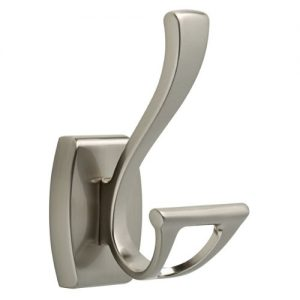 Delta Faucet Bathroom Accessories 135241 Dansant Double Towel Hook, SpotShield Brushed Nickel