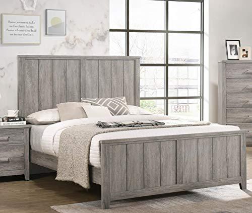 GTU Furniture Lyndon Weathered Light Grey Panel Bedroom Set GTU Furniture Lyndon Weathered Light Grey Panel Bedroom Set (King, 6 Pc).
