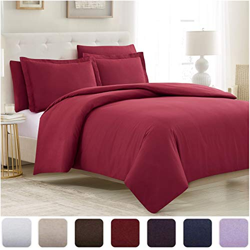 Mellanni Duvet Cover Queen Set 5pcs - Soft Double Brushed Microfiber Bedding with 2 Shams and 2 Pillowcases - Button Closure and Corner Ties - Wrinkle, Fade, Stain Resistant (Full/Queen, Burgundy)